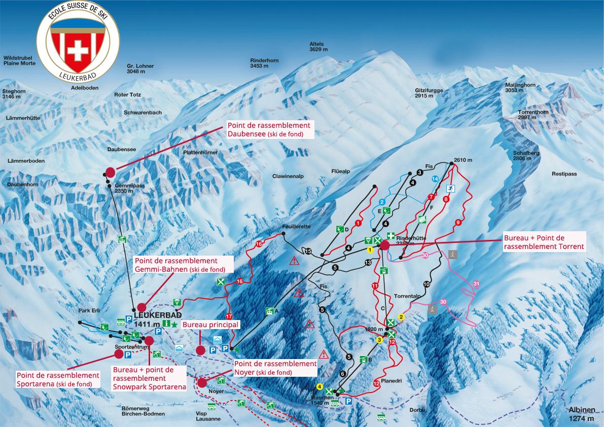 Plan des pistes et points de rassemblement cole de ski - Bureau commun des assurances collectives ...